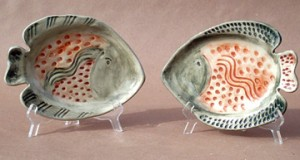 Colorful fish plates created in my studio