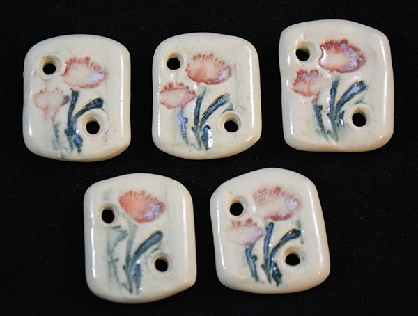 Handmade ceramic buttons (set of 5)