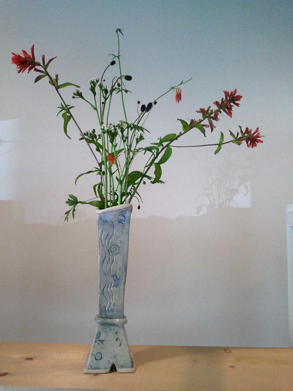 Slab-built vase