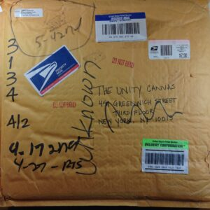 The envelope I'd sent with my painting in it in March 2002.